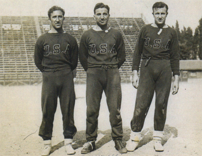 "Aldo ""Buff"" Donelli flanked by Tom Florie (left) and Joe Martinelli (right)"