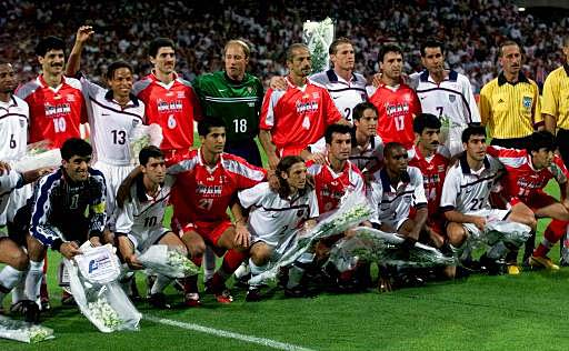 The US and Iran teams before their group stage game