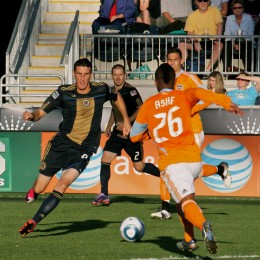 Sebastien Le Toux goes hard for the ball