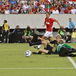 Toni Stahl saves a would-be goal against Manchester United. (Photo: Paul Rudderow)