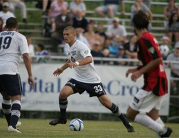 Richter with City Islanders on Saturday. Photo: Courtesy of Harrisburg City Islanders