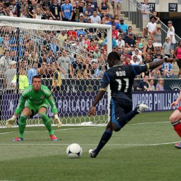 Freddy Adu lines up the shot...