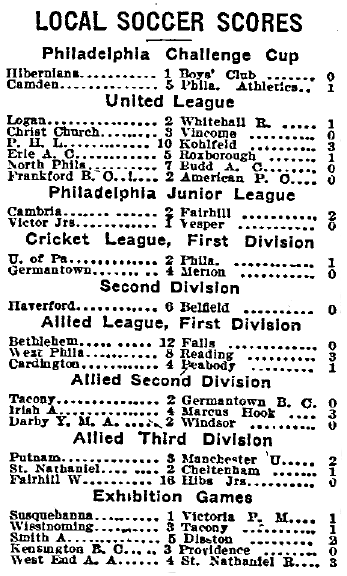 Philly soccer scores 1-19-1913 Phila Inq