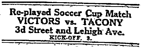 Tacony v Victors Cup replay
