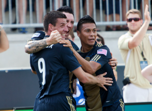 Happier days for Danny Califf, Sebastien Le Toux, and Michael Orozco Fiscal, before Peter Nowak exiled all three under questionable circumstances. (Photo: Daniel Gajdamowicz)