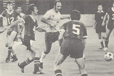 Jimmy Fryatt surrounded by a constellation of St. Louis Stars. Photo courtesy of nasljerseys.com.