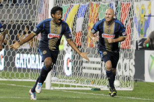 Sheanon Williams celebrates an improbable goal against Chicago. (Photo: Paul Rudderow)