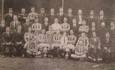1922-23 Shamrock Rovers, Irish Free State winners. Future Celtics Dinny Doyle (seated on the ground, front left) and Bob Fullam (seated first row,  third from left)