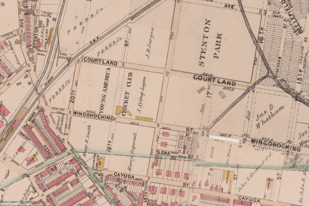 Young American Cricket Club-Stenton Park 1895 City map