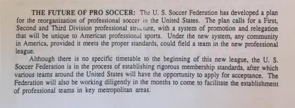 USSF pro league press kit exerpt