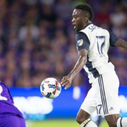 CJ Sapong takes on Orlando defender. Will he be able to duplicate his from the first half of last season?