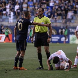 Dockal takes exception to a foul call.