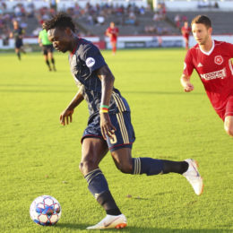 Olivier Mbaizo v Richmond Photo Courtesy BSFC Communications